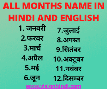 Month Name In Hindi